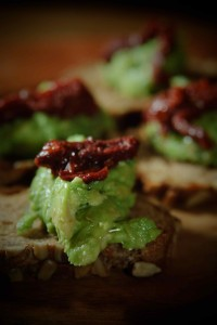 Avocado and Sun dried Tomato Crostini