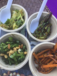 Maple Dijon Brussels Sprouts, Broccolini with Pine Nut and Parmesan, Carrots with Lime, Mustard and Cumin Seeds